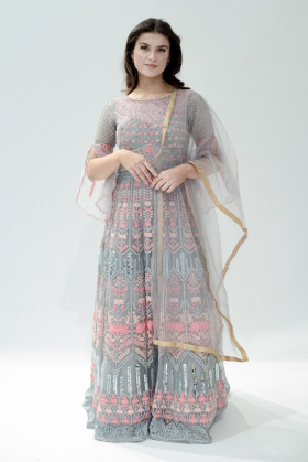 Beautiful long luxury embroidered gown in grey