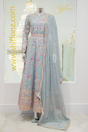 IVANA 3 piece grey embroidered long dress