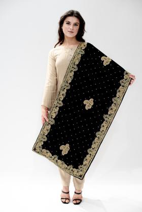 Gold embroidered velvet shawl in black