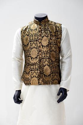 Banarsi mens waistcoat in black