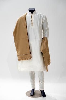Light beige wool mens shawl