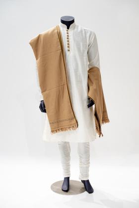 Light beige mens wool shawl