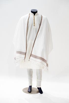 White wool mens shawl