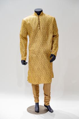 Mens sherwani in gold