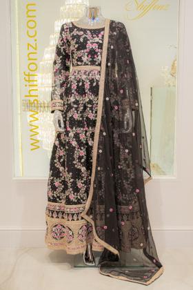 IVANA luxury 3 piece black embroidered long dress