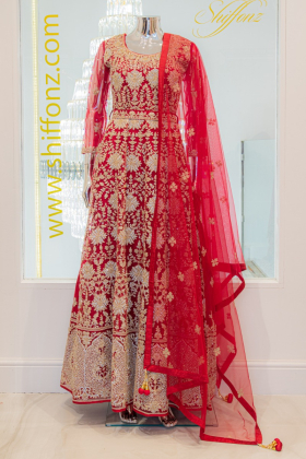 3 Piece luxury embroidered red net gown