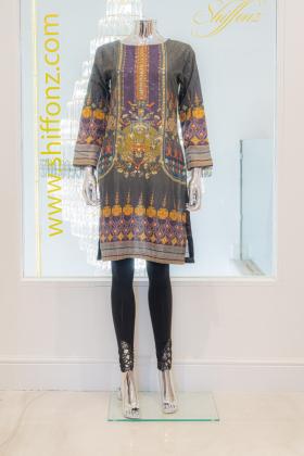 Charcoal color handwork printed kurta