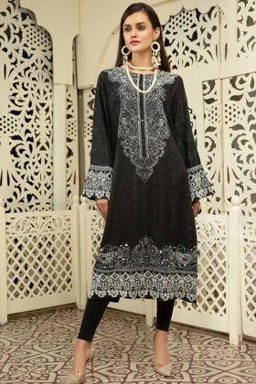 Gul ahmed linen black printed kurti