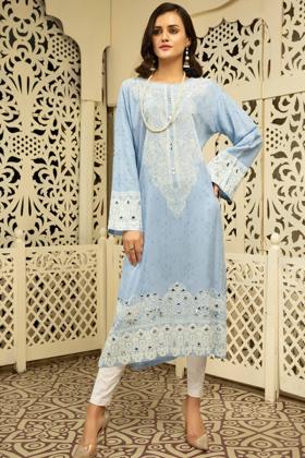 Gul ahmed linen blue printed kurti