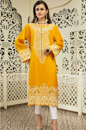Gul ahmed linen mustard printed kurti