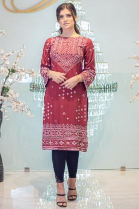 Gul ahmed linen maroon printed kurti