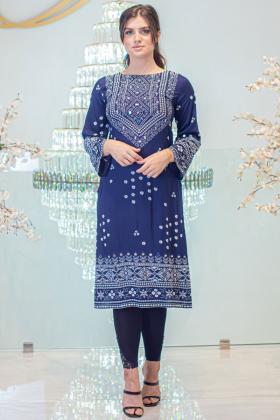 Gul ahmed linen navy printed kurti