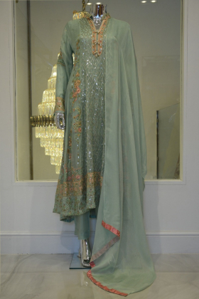 Sea green 3 piece long v-neck embroidery outfit
