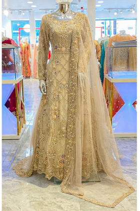 Heavy luxury embroidered beige bridal gown
