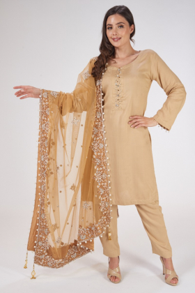 Beige and gold heavy embroidered net dupatta