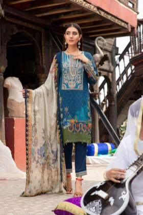 Rozana by Simran's 3 piece casual linen suit in turquoise