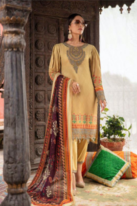 Rozana by Simran's 3 piece casual linen suit in mehndi