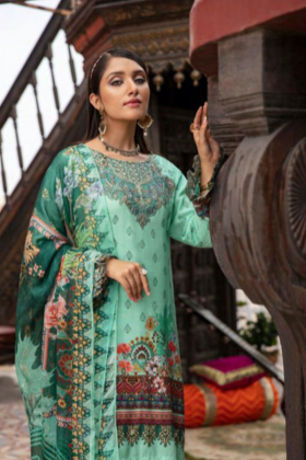 Rozana by Simran's 3 piece casual linen suit in light teal