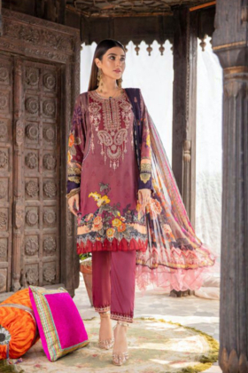Rozana by Simran's 3 piece casual linen suit in maroon