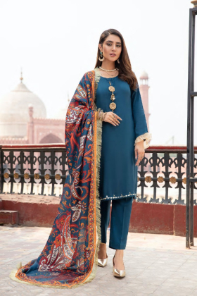 Pechaan 3 piece digital marina teal suit with a wool shawl