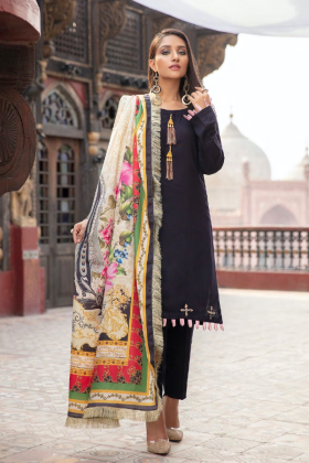 Pechaan 3 piece digital marina navy suit with a wool shawl
