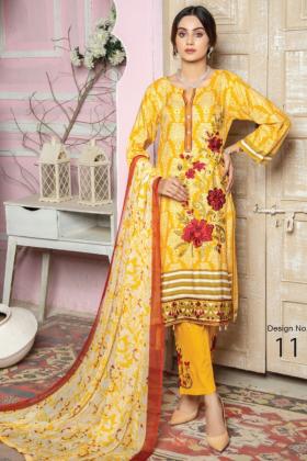I love Simran's 3 piece linen casual suit in mustard
