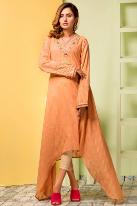 Beige printed long a-line cut kurti