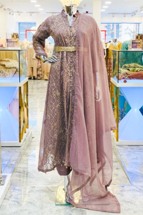 Chiffon long thread work dusty pink dress