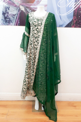 Long dori work dark green dress