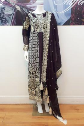 Long purple 3 piece chiffon outfit