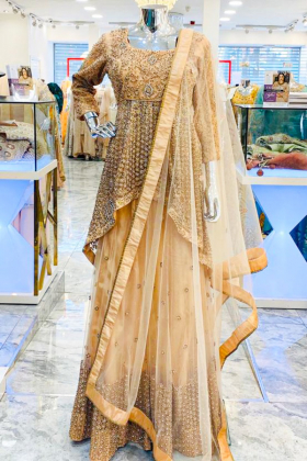 3 Piece peach embroidered lengha suit