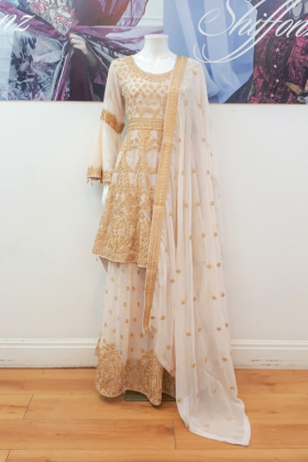 Beige luxury embroidered longtail lengha suit