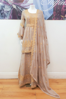 Beige embroidered lengha suit