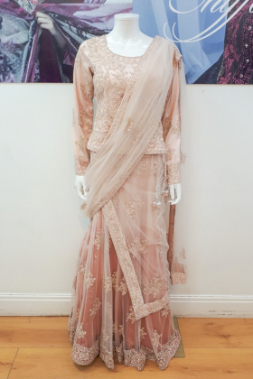 Peach lehnga saree