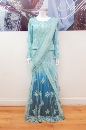 Light blue lengha saree