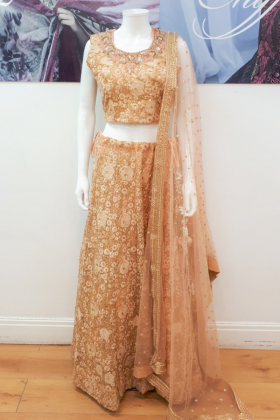 Peach embroidered lengha choli