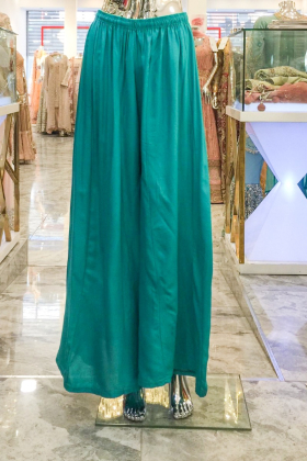 Turquoise flared linen trousers