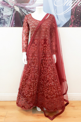 Maroon heavy embroidered gown