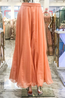 Plain peach chiffon plazo
