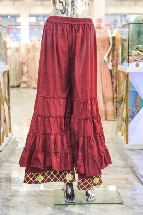 Maroon cotton crinkle plazo with gold lace border