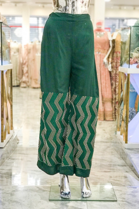 Chiffon green plazo with threadwork embroidery
