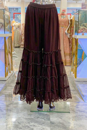 Puffy burgundy chiffon plazo