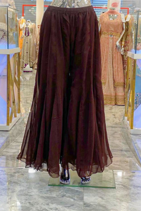 Brown chiffon plain plazo