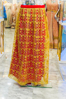 Net Red and gold lengha
