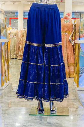 Navy garara with gold lace