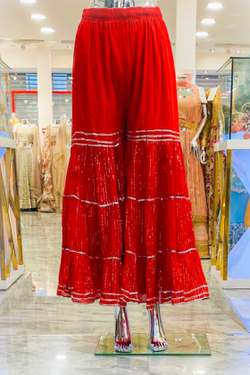 Red cotton garara with silver lace