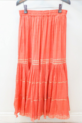 Peach cotton garara with gold lace work