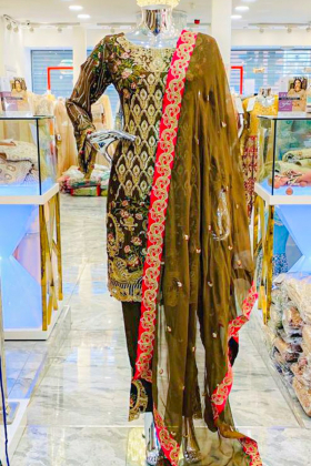 3 Piece chiffon embroidered brown suit