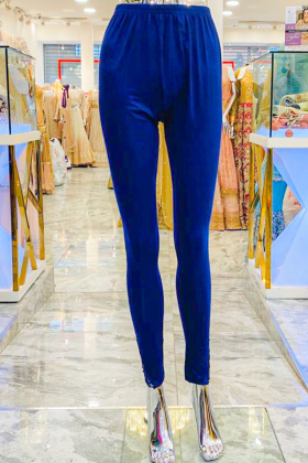 Blue leggings with side border