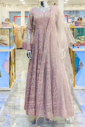 Embroidered dusty pink long maxi dress